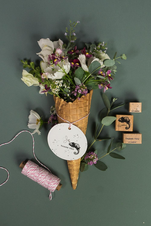 Kreativ stempeln mit cats on appletrees :) Blumenstrauß in der Eistüte