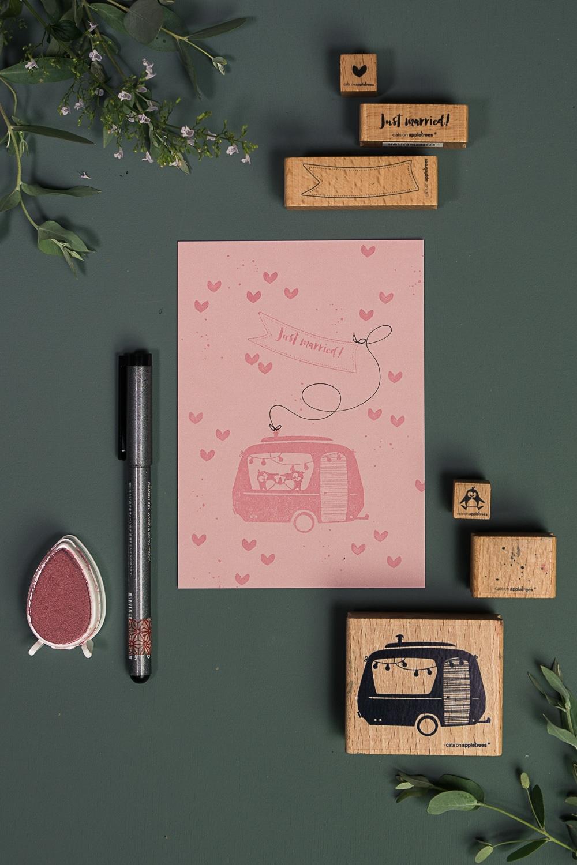 Kartenanleitung für eine Hochzeitskarte mit Pinguinen