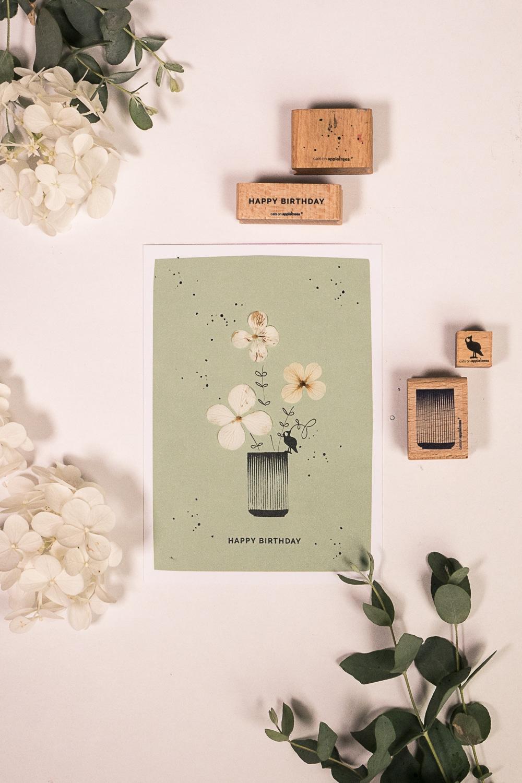 Kreativ Stempeln DIY: Geburtstagskarte mit Hortensienblüten