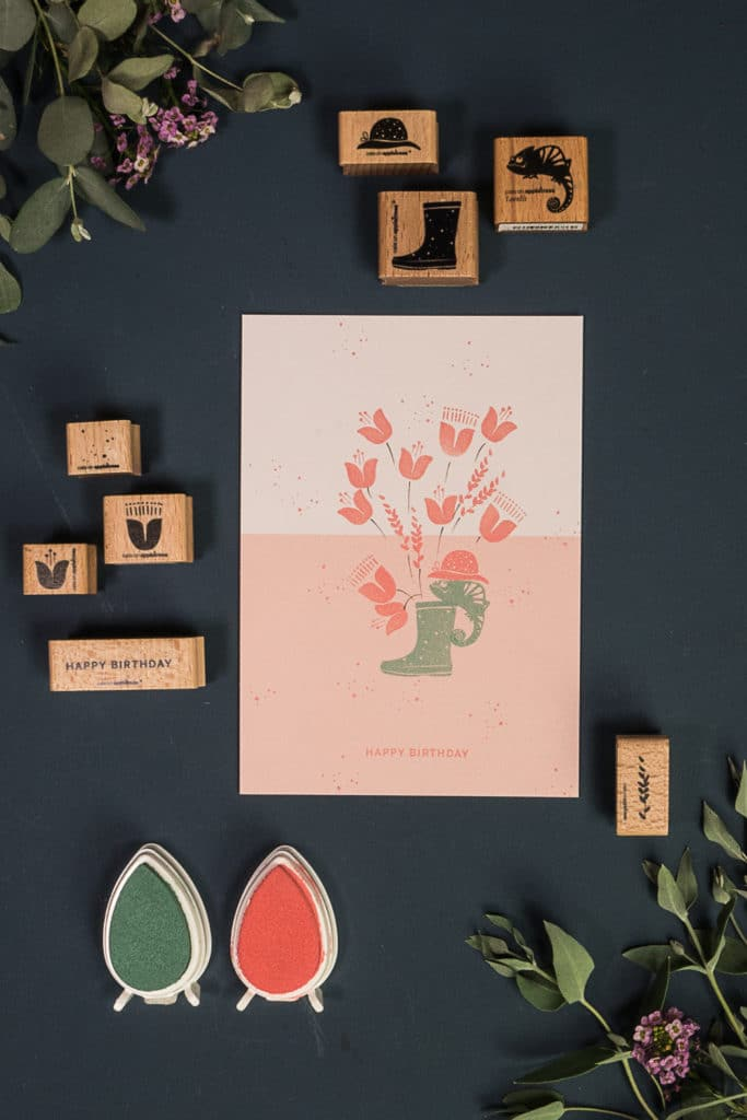 Grußkarte mit Chamäleon stempeln - Anleitungsvideo für eine Geburtstagskarte