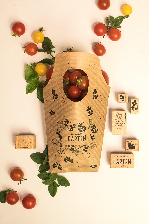 Stempelanleitung für eine Tomatentüte mit Schnecke Ermelind
