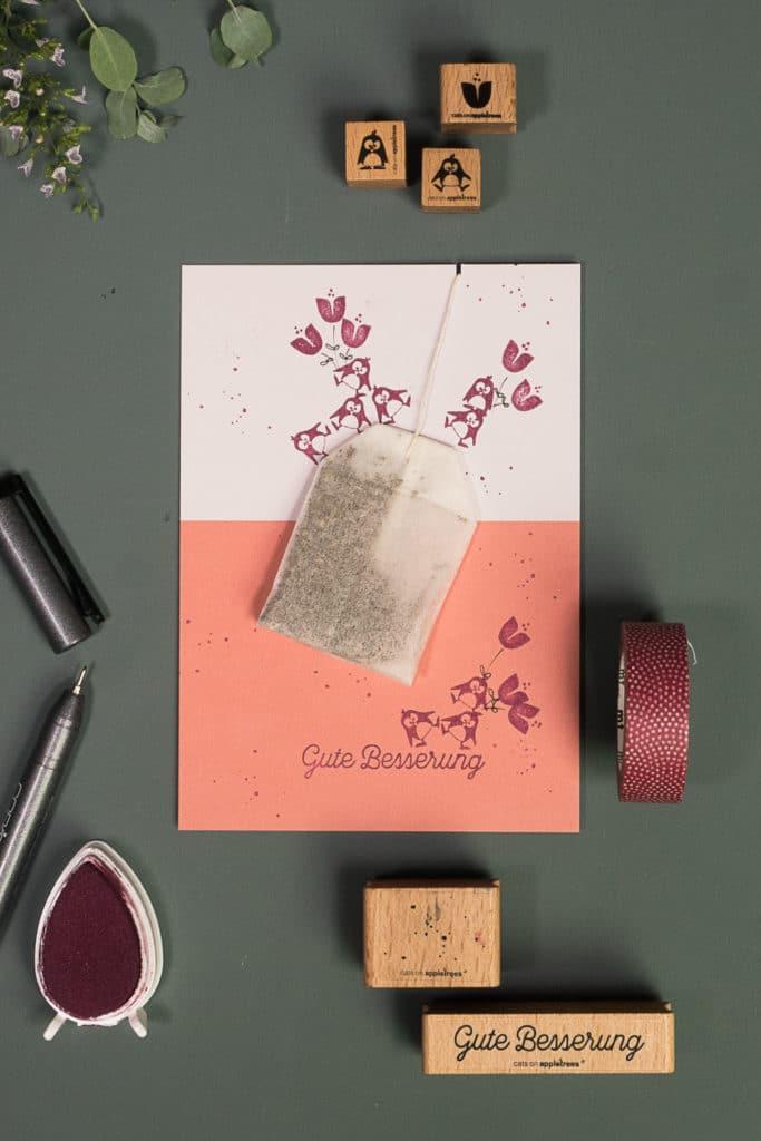 Idee für eine aufmunternde selbst gestempelte Karte mit integriertem Teebeutel. Gute Besserung!