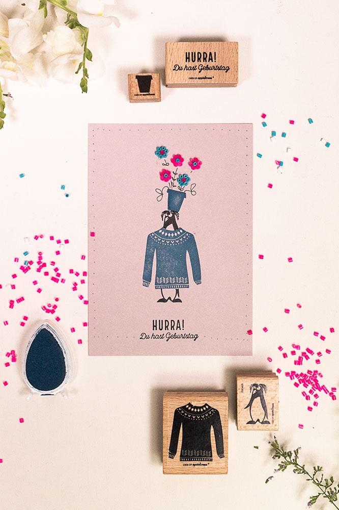 Lustige Geburtstagskarte mit Stempeln und Bügelperlen
