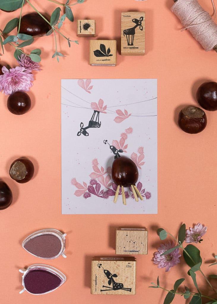 Herbstliche Karte mit Kastanienreh