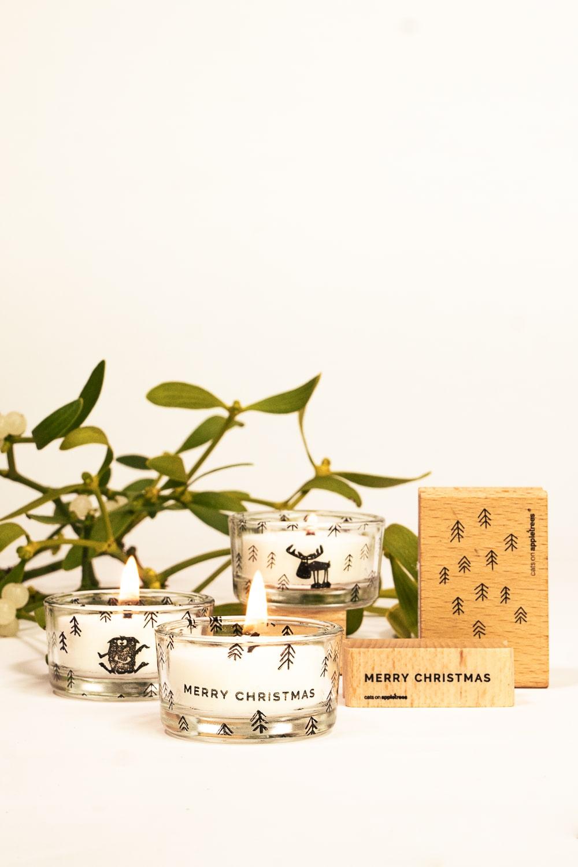 Mit Stempeln und Decal Paper kreiert ihr eure ganz eigenen Teelichter