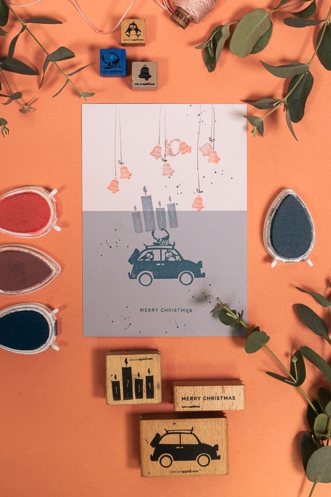 DIY - Gestempelte Grußkarte für Weihnachten mit Adventsgrüßen, Pinguinen und Skorpion Richard