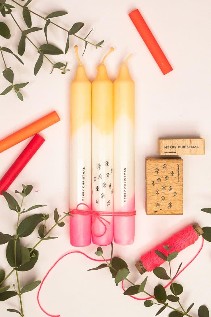 Mit Wachsmalstiften und Decal Papier kreieren wir stylische Kerzen mit Neoneffekt